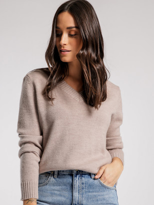 Assembly Label V Neck Knit Jumper in Flax Marle