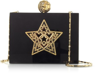 Maissa Black Plexiglass Lady Rockstar Clutch w/Chain Strap