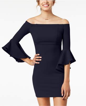Teeze Me Juniors' Ruffle-Sleeve Off-The-Shoulder Dress