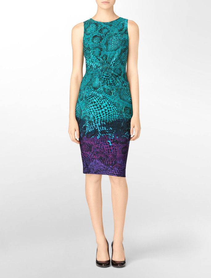 Printed Matte Jersey Sheath Dress