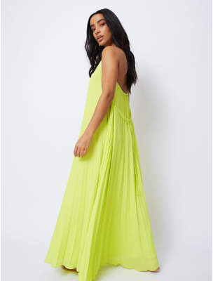 George Neon Yellow Pleated Halter Maxi Dress