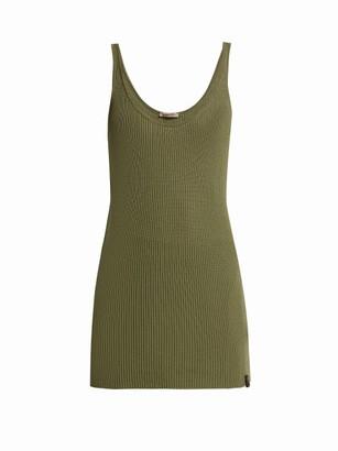 Bottega Veneta Extra Long Rib Knitted Cashmere Tank Top - Womens - Khaki