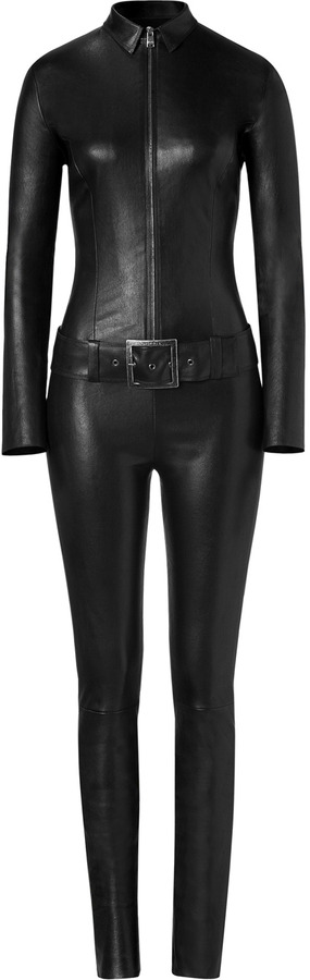 Jitrois Black Leather Belted Kill Jumpsuit