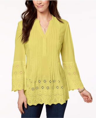 Style&Co. Style & Co Petite Cotton Eyelet Split-Neck Top, Created for Macy's