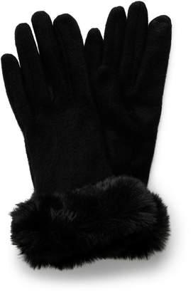 Forever New Lara Faux Fur Trim Glove - Black. - 00
