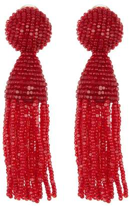 Oscar de la Renta Beaded Clip On Tassel Earrings