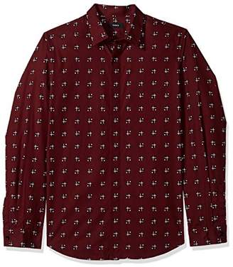 Theory Men's Long Sleeve Cross Box Printed Woven