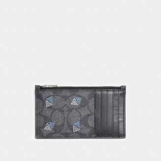 Coach Zip Card Case In Signature Canvas With Dot Diamond Print