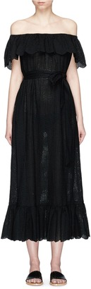 Marysia Ruffle overlay broderie anglaise off-shoulder dress $650 thestylecure.com