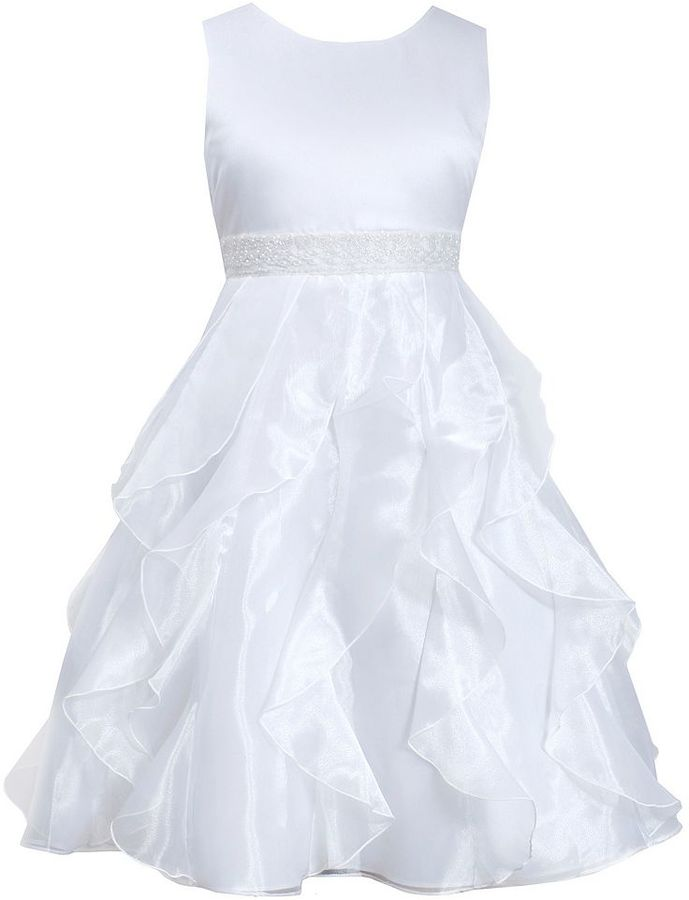 Bonnie JeanGirls 7-16 & Plus Size Bonnie Jean White Organza Cascade Dress