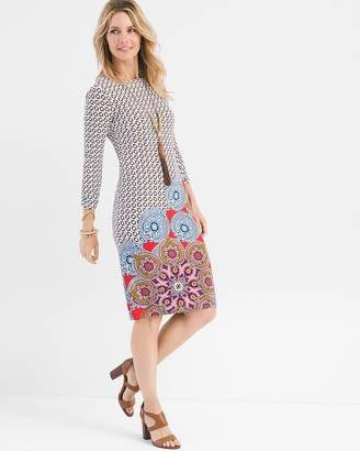 Chico's Chicos Printed Ruched-Sleeve Dress