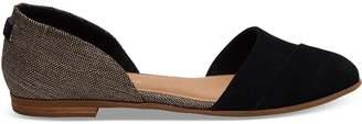 Toms Black Suede Metallic Woven Women's Jutti D'Orsay Flats