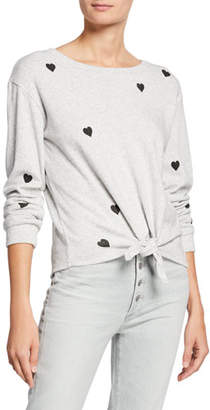 Generation Love Melissa Crewneck Long-Sleeve Top w/ Hearts & Self-Tie Hem