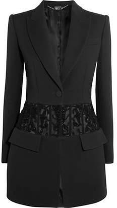 Alexander McQueen Bead-Embellished Tulle-Paneled Crepe Blazer