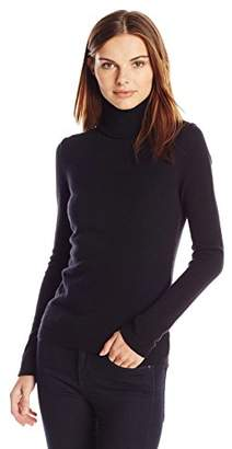 Lark & Ro Women's 100% Cashmere Slim-Fit Turtleneck Sweater