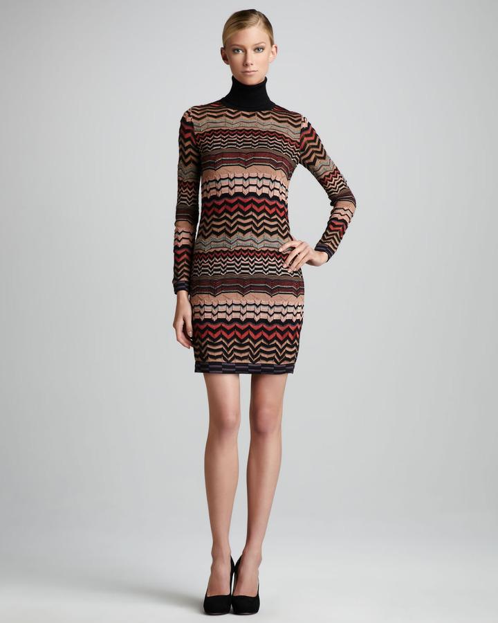 M Missoni Small-Zigzag Turtleneck Dress