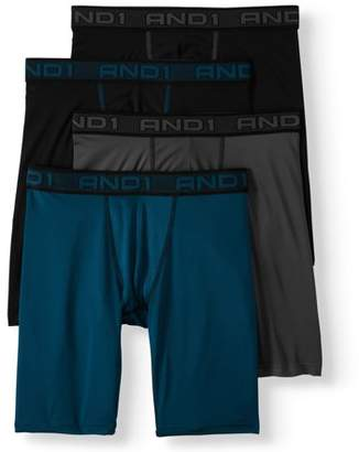 AND 1 Men's Performance Long Length Boxer Briefs with Contour Pouch, 4-Pack