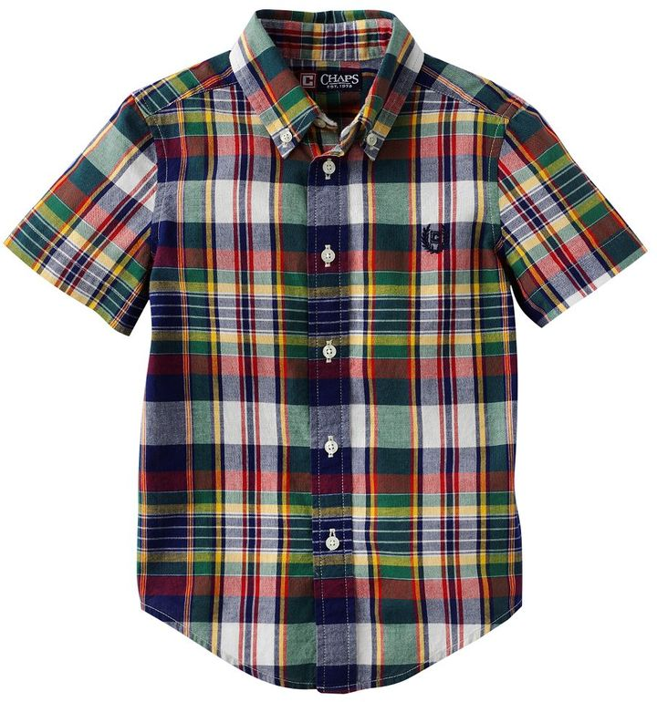 Chaps plaid woven button-down shirt - boys 4-7