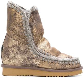 Mou Eskimo metallic wedge boots