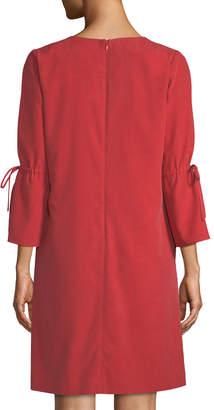 Lafayette 148 New York Deandra V-Neck Silk Cloth Dress, Red