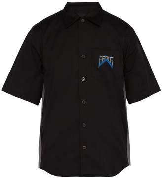 Prada Logo Stretch Cotton Poplin Overshirt - Mens - Black Multi