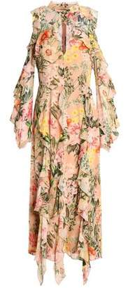 Nicholas Cold-Shoulder Ruffled Floral-Print Silk Crepe De Chine Midi Dress