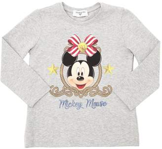MonnaLisa Mickey Mouse Print Cotton Jersey T-Shirt