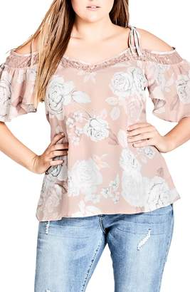 City Chic Whimsy Lace Cold Shoulder Top