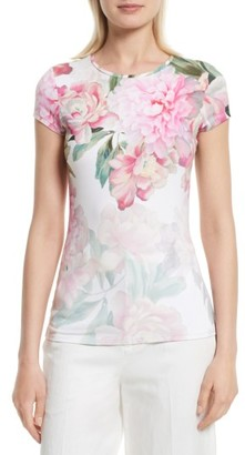 Women's Ted Baker London Maiini Painted Posie Fitted Tee $79 thestylecure.com