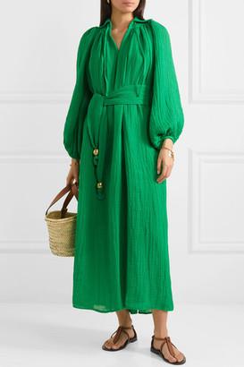 Lisa Marie Fernandez Poet Belted Linen-blend Maxi Dress - Green