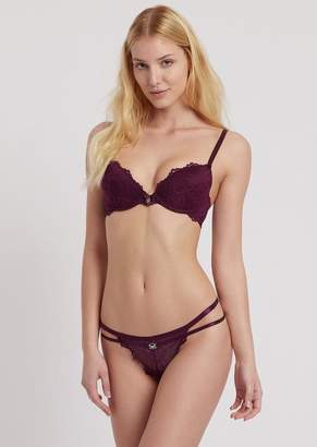 Emporio Armani Floral Lace Thong With Double Hip Strings