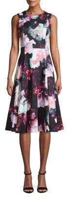 Calvin Klein Floral Knee-Length A-Line Dress