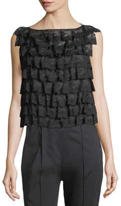Marc Jacobs Ruffled-Organza Ruffle Lace Shell Top