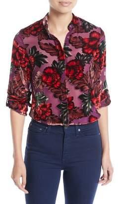 Alice + Olivia Eloise Mandarin-Collar Button-Front Floral-Burnout Blouse