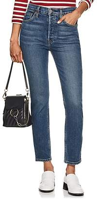 RE/DONE Women's Stretch High Rise Ankle Crop Jeans - Md. Blue