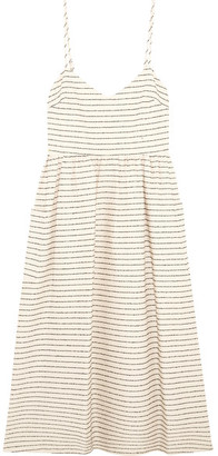 Mara Hoffman - Striped Cotton-blend Midi Dress - Cream $350 thestylecure.com