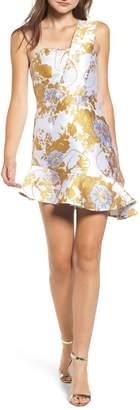 Endless Rose Jacquard Asymmetrical Ruffle Dress