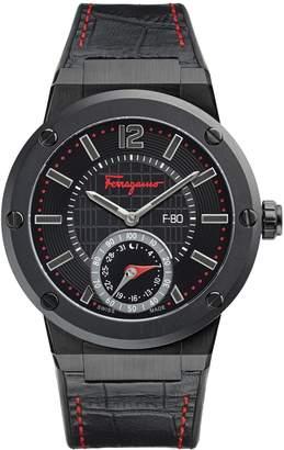 Salvatore Ferragamo F-80 Motion Stainless Steel Leather-Strap Smart Watch