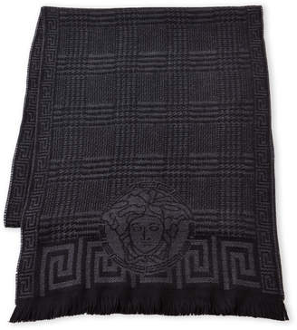 Versace Plaid Wool Scarf
