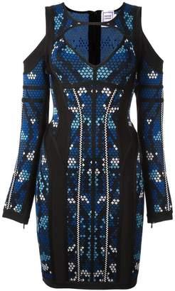 Herve Leger 'pixel' print cut-off dress