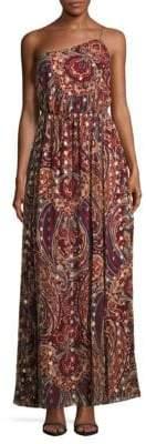 Haute Hippie Asymmetric Neckline Floral Print Silk-Blend Gown