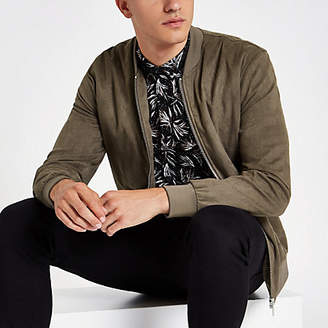 River Island Khaki green faux suede bomber jacket