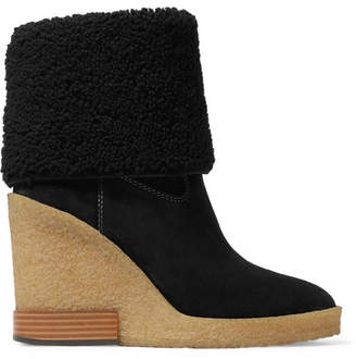 Tod's (トッズ) - Tod's - Sonia Shearling-trimmed Suede Wedge Ankle Boots - Black