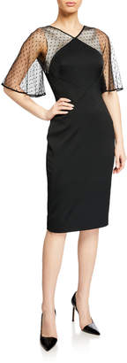 Karen Millen Dotted Tulle-Sleeve Sheath Dress