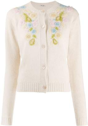 Miu Miu embroidered flower cardigan