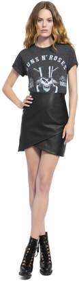 Alice + Olivia Fidela Leather Draped Mini Skirt