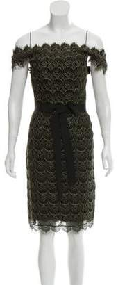 Marchesa Lace Belted Knee-Length Dress w/ Tags