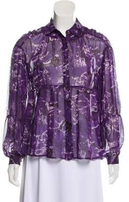 MICHAEL Michael Kors Silk Semi-Sheer Top