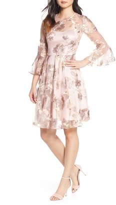 Eliza J Floral Jacquard Fit & Flare Dress