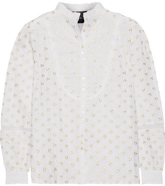 Needle & Thread - Ditsy Embroidered Cotton Blouse - Off-white $185 thestylecure.com